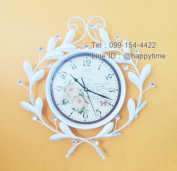 นาฬิกาติดผนัง Vintage รุ่นใบไม้ขาวประดับพลอย