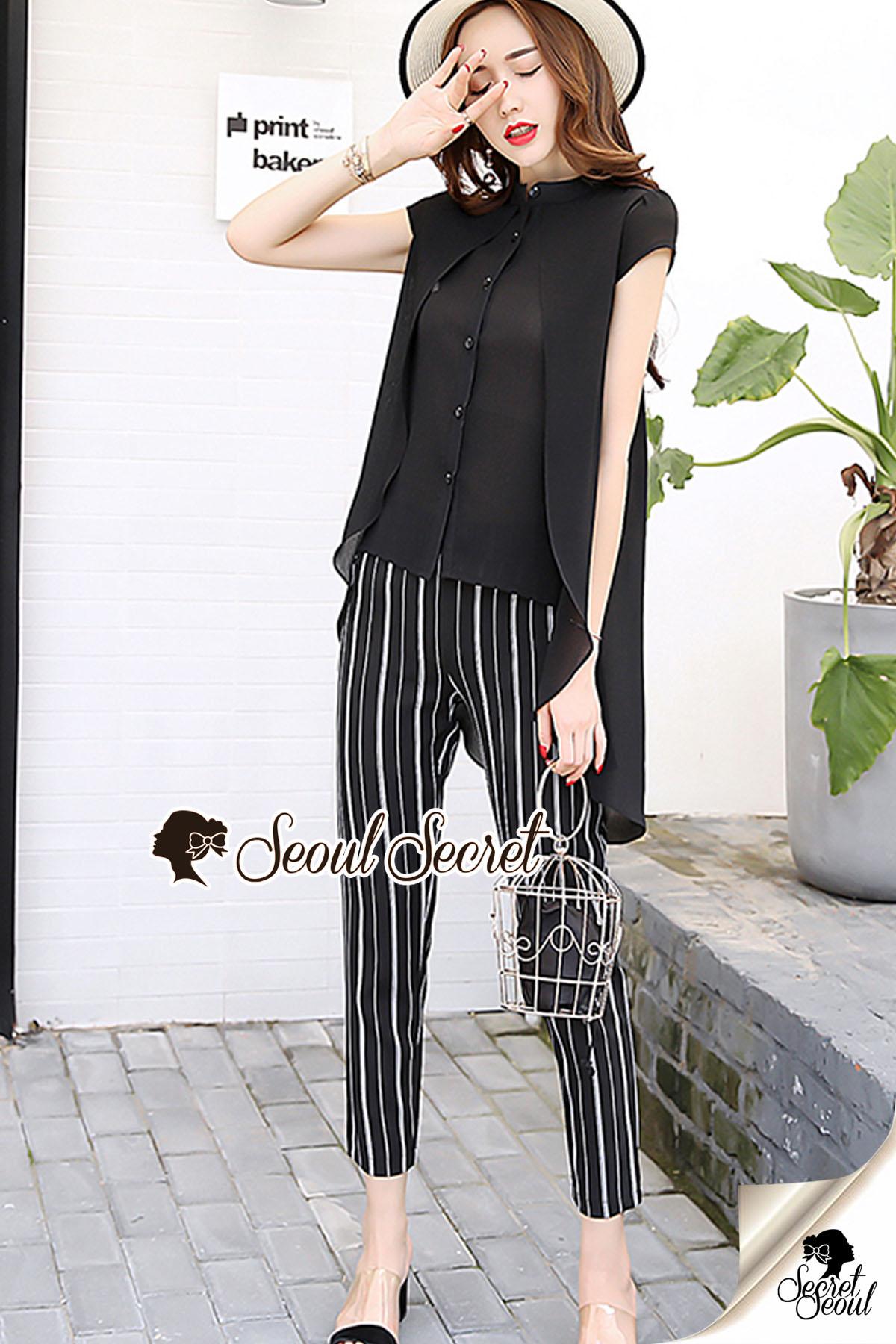 Stylish Stripe Pants Cami Spritty Set