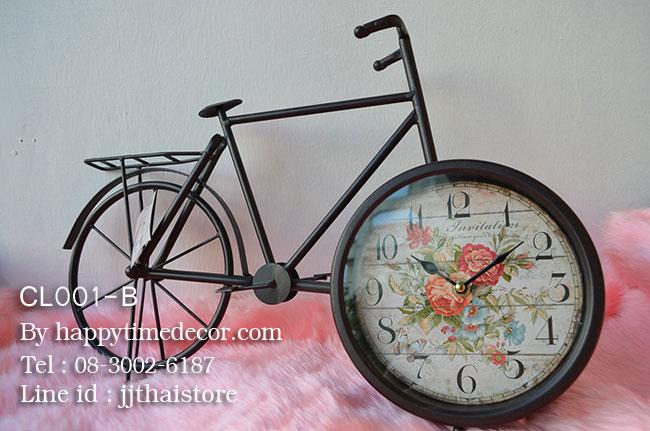 นาฬิกาตั้งโต๊ะวินเทจ รูปทรงจักรยานสองล้อโครงโลหะสีดำ
