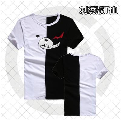 เสื้อยืดคอสเพลย์แฟชั่น สีขาว/ดำ แขนสั้น ดีไซส์แถบสี Danganronpa The Animation