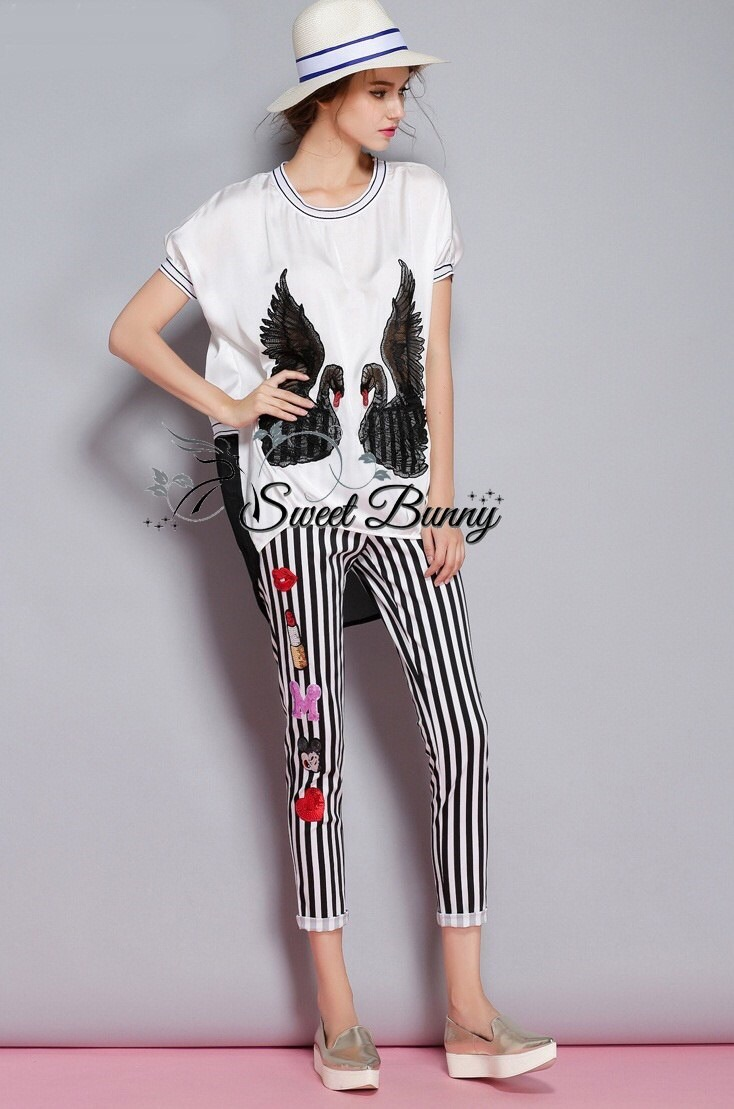 Swan top and stripe embroidery shine side trouser set by Sweet Bunny