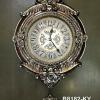 นาฬิกาติดผนัง สไตล์โรมัน ตัวเรือนสีน้ำตาลทองสุดคลาสสิค
