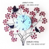 นาฬิกาแขวนผนัง Modern ดีไซน์รูปช่อดอกไม้ ประดับด้วยคริสตัลสีแดง