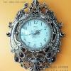 นาฬิกาติดผนังโมเดิร์นทรงโรมัน รูปนกยูงคู่สีทอง ประดับพลอยสี
