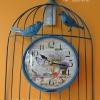นาฬิกาแขวน Vintage รูปกรงนกติดผนัง สีฟ้า