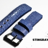 Blue Genuine Leather Middle Center Back Stingray Leather Watch Strap Pam Buckle 24/20 mm