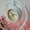 นาฬิกาตั้งโต๊ะวินเทจ สีขาว 2 หน้าปัด สวยๆเก๋ๆ