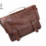 LT33-Brown กระเป๋าสะพายข้าง หนัง PU สีน้ำตาล Three box