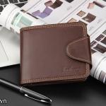 WS06-Brown กระเป๋าสตางค์ใบสั้น แนวนอน กระเป๋าสตางค์ผู้ชาย หนัง PU เกรดเอ สีน้ำตาล