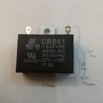 C1.8UF450VAC Cพัดลมเหลี่ยมสีดำขนาดกว้าง37มมสูง26มมหนา13มมราคาตัวล่ะ 37x26x13mm