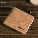 WS08-Brown กระเป๋าสตางค์ใบสั้น แนวนอน กระเป๋าสตางค์ผู้ชาย หนัง PU เกรดเอ สีน้ำตาล