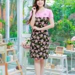 XL, 5XL ชุดเดรสสาวอวบ++ผ้า Sanfox พื้นดำ ทอลายดอกชมพู จุดเด่นของชุดนี้ตัดต่อด้านบน และแขนด้วยผ้า Hanako สีชมพู