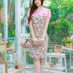 XL,3XL,5XL ชุดเดรสสาวอวบ++ผ้า Sanfox พื้นขาว ทอลายดอกชมพู จุดเด่นของชุดนี้ตัดต่อด้านบน และแขนด้วยผ้า Hanako สีชมพู