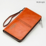 WL08-Light กระเป๋าสตางค์ใบยาว กระเป๋าสตางค์ผู้ชาย หนัง PU สีน้ำตาลอ่อน