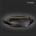LT03-Black กระเป๋าคาดอก กระเป๋าคาดเอว หนัง PU สีดำ