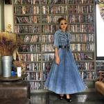 vintage dress : เดรสยีนส์ผ้าฟอก เอวจั๊ม แต่งลูกเล่นช่วงหน้าอก ผ้ายีนส์เนื้อบางค่อนข้างนิ่ม