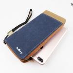 WL02-Blue กระเป๋าสตางค์ใบยาว กระเป๋าสตางค์ผู้ชาย ผ้าแคนวาส สีน้ำเงิน