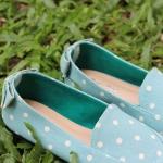 รองเท้าผ้าแคนวาสลายจุดเขียว