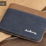 WS01-Blue แนวนอน กระเป๋าสตางค์ใบสั้น กระเป๋าสตางค์ผู้ชาย ผ้าแคนวาส สีน้ำเงิน