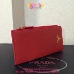 Prada Saffiano Leather Wallet สีแดง
