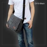 CV10-Black กระเป๋าสะพายข้าง ผ้าแคนวาส สีดำ