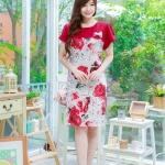 XLชุดเดรสสาวอวบ++ผ้า Korea Print จุดเด่นของชุดนี้อยู่ที่ลวดลายบนผ้า พื้นขาวลายกุหลาบแดง