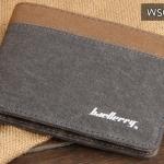 WS01-Gray แนวนอน กระเป๋าสตางค์ใบสั้น กระเป๋าสตางค์ผู้ชาย ผ้าแคนวาส สีเทา