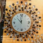 นาฬิกาติดผนัง รูปดอกไม้พลอยพริ้วสีขาวดำสวยๆ