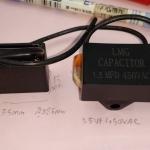 C1.5UF450VAC Cเหลี่ยมดำยี้ห้อLMGมีสายไฟขนาดกว้าง35mmสูง25mmหนา15mm(35x25x15mm)
