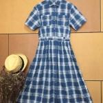 Vintage dress : เดรสวินเทจลายสก๊อตงานญี่ปุ่น แพทเทิร์นเข้ารูป แต่งกระดุมหน้า มีกระเป๋าข้าง เนื้อผ้าคอตต้อน