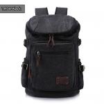 TR04-Black กระเป๋าเป้สะพายหลัง ผ้าแคนวาส สีดำ