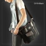 CV19-Black กระเป๋าถือผู้ชาย + สะพายข้าง MO&Y ผ้าแคนวาส สีดำ