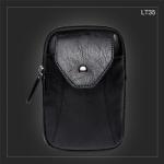 LT35 กระเป๋าร้อยเข็มขัด กระเป๋าคาดเข็มขัด หนัง PU สีดำ