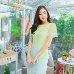 M,L,XL,2XL ชุดเดรสเสื้อผ้าคอตตอลปักไหมญี่ปุ่นผ้านำเข้า สีเขียวปักฉลุสวยมาก แต่งระบายด้านข้างรอบสะโพก กระโปรงผ้า Varantino