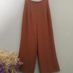 Vintage pant : กางเกงวินเทจเอวสูง สีน้ำตาล ผ้าโพลีเอสเตอร์เนื้อดี พร้อมซับใน