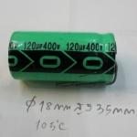 C120UF400VDC105Cขาลวดเส้นผ่านศูนย์กลาง18มมสูง35มมคาปาซิเตอร์อิเลคโครไลท์CAPACITOR ELECTROLYTIC VDC(18x35mm)ราคา
