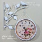 นาฬิกาแขวนวินเทจ สองหน้า นกเกาะกิ่งไม้สีขาว หน้าปัดลายดอกไม้ - HT0133