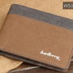WS01-Brown แนวนอน กระเป๋าสตางค์ใบสั้น กระเป๋าสตางค์ผู้ชาย ผ้าแคนวาส สีน้ำตาล