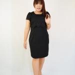 ชุดเดรสสีดำ เสื้อคลุมผ้าลูกไม้สีดำ ตัวชุดเป็นผ้า Hanako พื้นสีดำ XL821