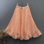 Vintage skirt : กระโปรงวินเทจเอวสูง สีส้มโอโรส ผ้าชีฟอง มีความฟูฟ่อง น่ารักมุ้งมิ้ง