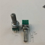 โวลุ่ม10KB6ขา2ช้ันแกนยาว+เกลียว20มมเหลี่ยมสีเขียว/น้ำเงินALPHAขนาดกว้าง9MMยาว25MMแกนอ้วน6MMความยาวแกน+เกลียว15MM โวลุ่มเหลี่ยม6ขาราคาตัวล่ะ