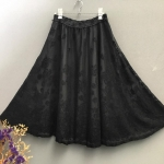 Vintage skirt : กระโปรงบานสีดำผ้าลูกไม้ตาข่าย เอวยืด