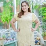 ชุดเดรสสาวอวบ++ ผ้าชีฟองฉลุลายสีทอง นำเข้าจากญี่ปุ่น แขนชีฟองระบาย 2 ชั้น