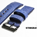Blue Genuine Leather Back Stingray Leather Watch Strap Pam Buckle 24/20 mm