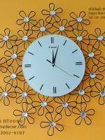 นาฬิกาแขวนบ้านติดผนัง รูปดอกไม้ 5 กลีบ หน้าปัดใหญ่