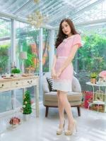 5 Size= M,L,XL, 3XL ,5XL ชุดเดรส-ชุดเดรสไซส์ใหญ่ ผ้า Hanako สีชมพู แต่งคอ ขอบเอว ชายกระโปรงสีขาวเพิ่มความเก๋