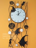 นาฬิกาติดผนังสวยๆ รูปปลาเทวดา เปลือกหอยกับม้าน้ำ