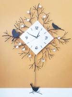 นาฬิกาติดผนัง รุ่นนกเยอะหน้าปัดเหลี่ยม
