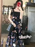 Mini Lace Dress Erin Off Shoulder Black&Cream Tulle Korea ดำ