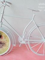 นาฬิกาวินเทจตั้งโต๊ะ ทรงจักรยานสีขาว